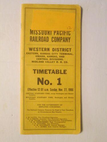 MIssouri Pacific Railroad Company Time Table No. 1 Nov 27, 1966 Western District