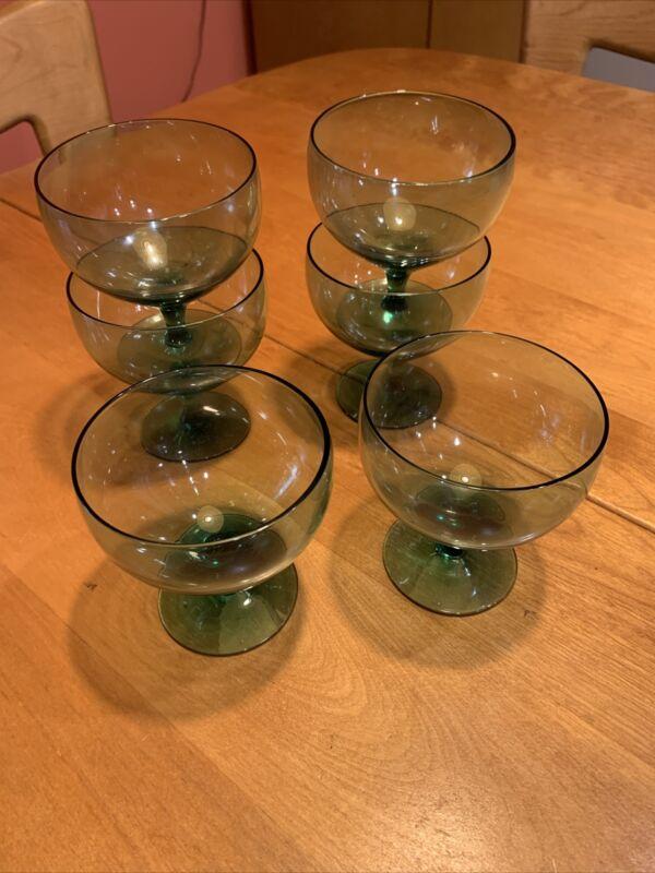 Russel Wright Morgantown Wine Stems Aqua turquoise Seafoam set of 6!