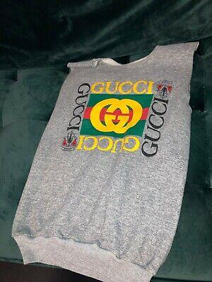 Rare Vintage 80s/90s Bootleg Gucci Gray Crewneck Cutoff Sweatshirt - Medium