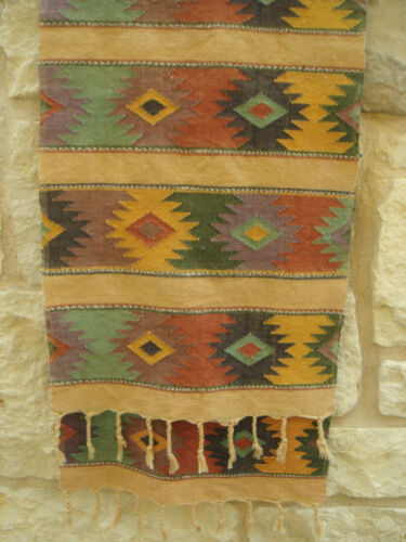 Vintage ZAPOTEC Oaxaca Mex. Hand-Woven Cotton Runner Wall-Hanging Vegetable Dyed