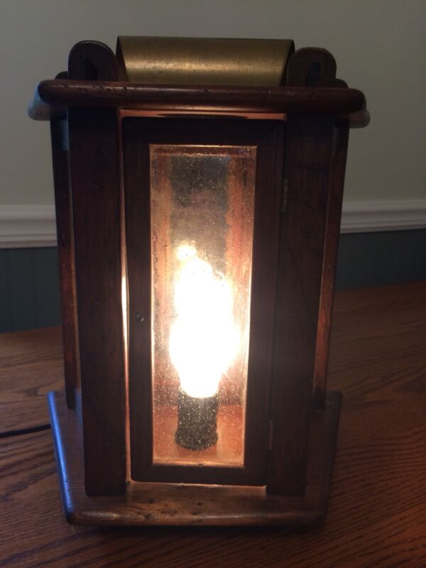 Early Americana Style Wall Sconce/Lamp - Wood With Antique Style Glass Panes
