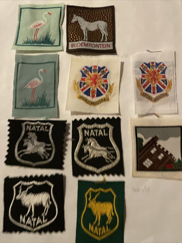 South Africa Lot of 10 Boy Scout Patches  Including Natal Bloemfontein And Spero