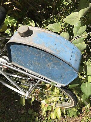 vintage OIL TANK  MOTORCYCLE old blue dry paint 1940 repurpose