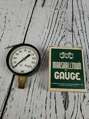 Vtg Marshalltown Gauge 2 12 Fig 23 - 100 Psi. 14 Conn. Steel Case Black New