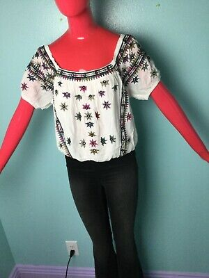 New FREE PEOPLE Aurura Embroidered Top White Boho Blouse Size L