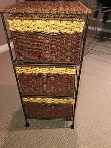 Wicker Storage Drawer Unit