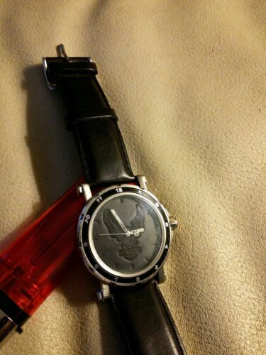 Harley Davidson wrist watch   RARE LEATHER EAGLE gift collectible  running