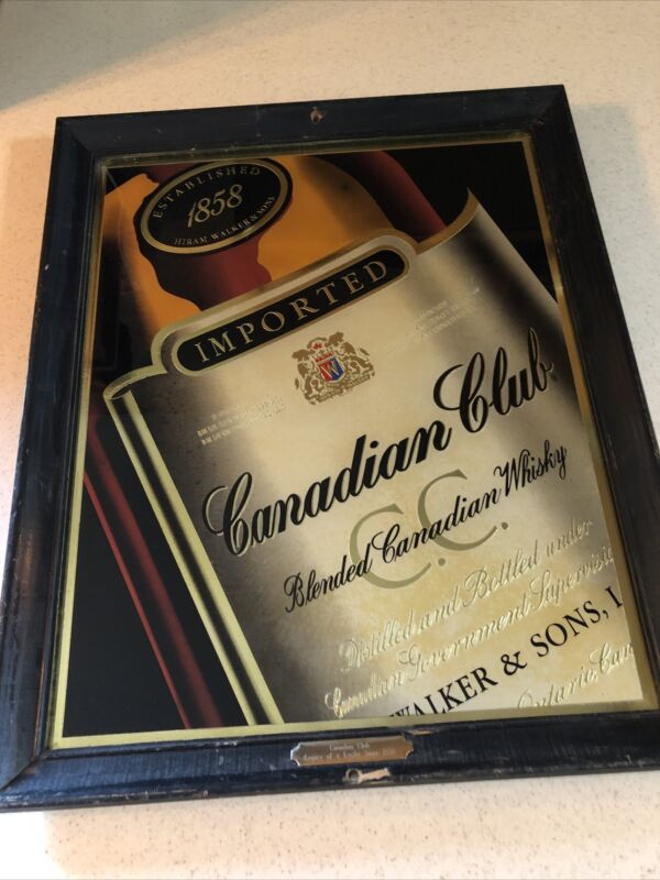"""CANADIAN CLUB BLENDED WHISKY MIRROR  WOOD FRAME & BRASS PLAQUE USA 18 1/2"""" X 22"""