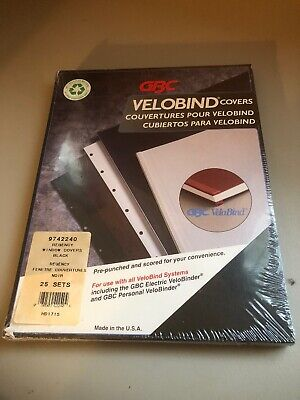 Gbc Velobind Covers Black 25 Sets 9742240 Pre-punched Scored Made In Usa