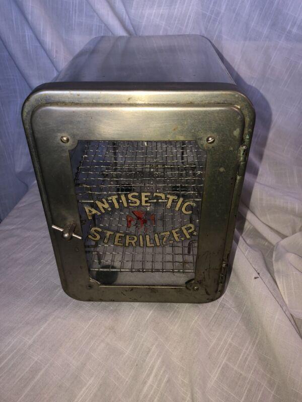Antique 1920's Glass Tool Sterilizer Barber / Salon W/ Original Rack Metal Door