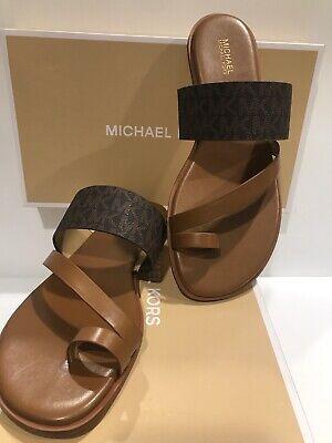 NEW MICHAEL KORS NELSON FLAT SANDALS MINI MK LOGO PVC BROWN SHOES Sz 9.5