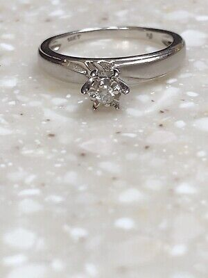 14K White 010ct  ROUND Natural DIAMOND BRUSHED SATIN FINISH RING ()