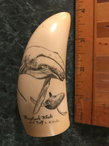 Artek Replica Whale Tooth Scrimshaw Reproduction - Humpback Whale and Calf, nice