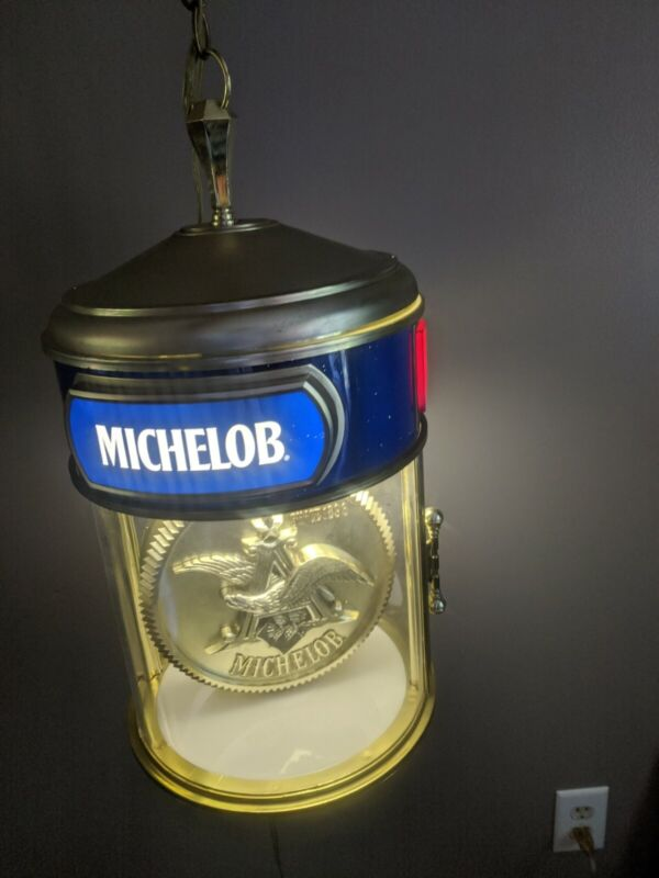 Rare Anheuser Busch Michelob Beer Hanging Ceiling Light Sign Rotating Clock