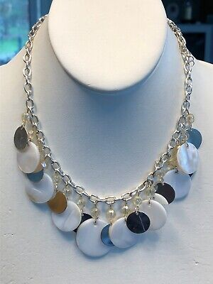 """Vintage Silver Mother Of Pearl Coin Necklace Silver Aurora Borealis Beaded 16"""""""