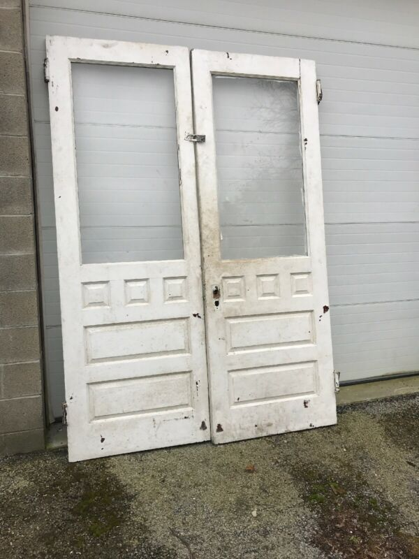 MAR Back Pair Antique Pine Raised Panel Double Doors 65 X 92.5