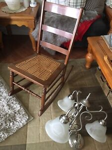 Antique chair & lamps
