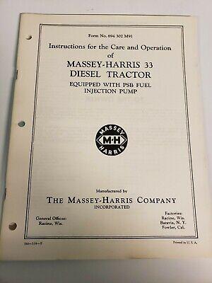 Massey Harris 33 Diesel Tractor Original Operators Owners Manual