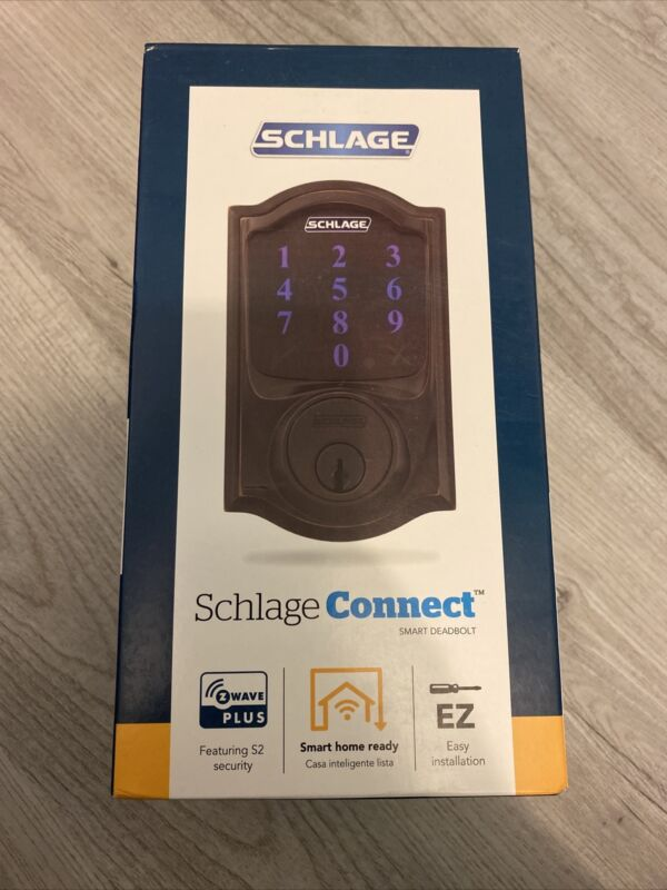 Schlage Camelot Aged Bronze Connect Smart Door Lock with Alarm BE469ZP V CAM 716