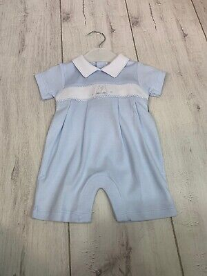 BNWT, Baby Boys Soft Collared Romper, All in one, Embroidered Bunny, Kissy Kissy