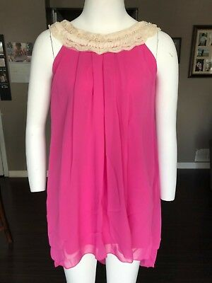 My Best Kid Chiffon Clooney Lace Hi-Low Dress, Rose, Size 10, 100%