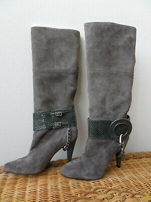 Long Knee High Grey Suede Heeled Boots -  Size UK 4