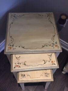 Nesting table and matching French Country coffee table