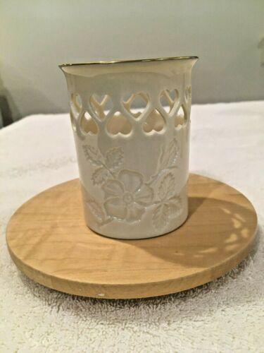 "LENOX ""Pierced Hearts"" Tealight Votive Candle Holder – Ivory Porcelain"