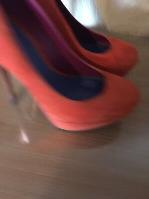 kurt geiger ladies shoes size 5 Orange  Suede With Gold Coloured Heel