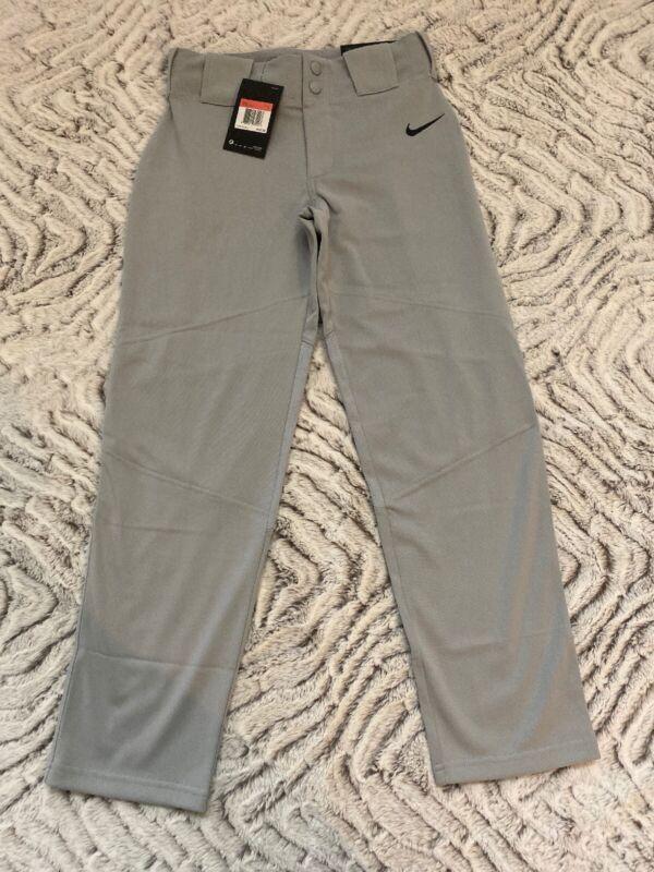 New Nike Vapor Full Length Baseball Pants L Youth Boys Wolf Gray 747227-052