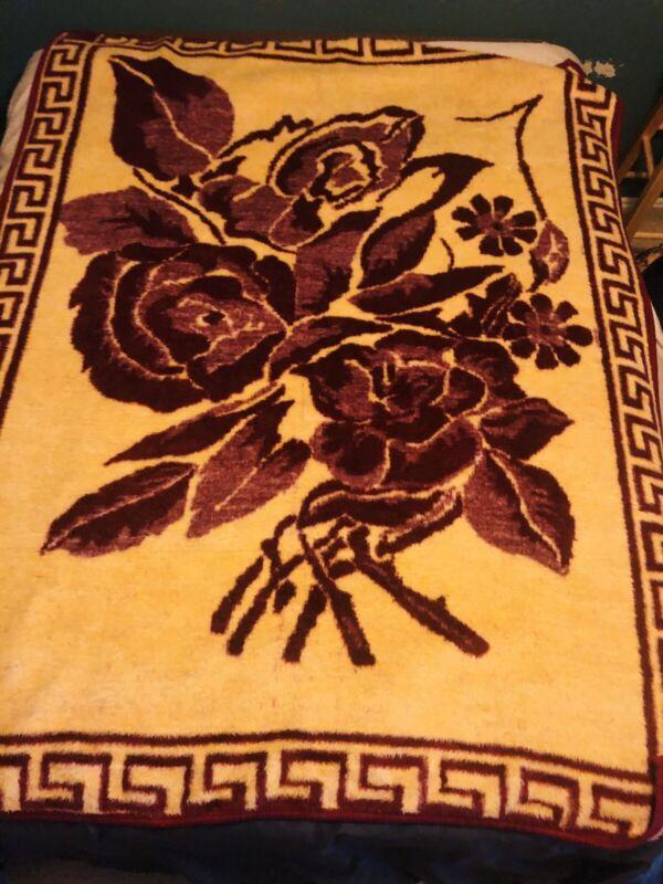 "Vintage Biederlack San Marcos Type Blanket Floral Burgundy Beige 80 x 59"" Plush"