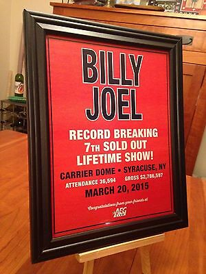 """BIG 10x13 FRAMED """"BILLY JOEL LIVE IN SYRACUSE NY 3/20/15"""" CONCERT TOUR PROMO AD"""