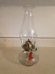 Vintage Hobnail Glass Oil Lantern, Working Condition