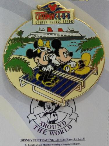 2007 Disney Pin DCL Castaway Club Mickey & Minnie Navy Blue Lounge & Yellow Bow