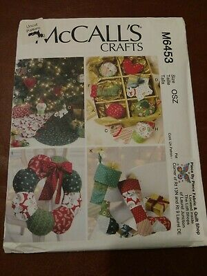 McCall's Crafts M6453 Ornaments Wreath Tree Skirt Stocking Uncut Sewing -
