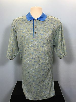 Como Sport Paisley Polo Electric Blue & Gold Shimmer Flawless Condition XL Rare