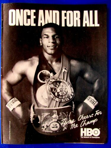 """Mike Tyson Once And For ALL 1988 HBO Boxing Original Print Ad 8.5 x 11"""""""