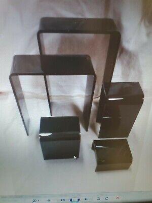 Riser Acrylic Display Showcase Jewelry Fixture Set Is 5 Pcs Black Free Shipping