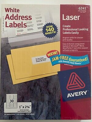 New Sealed Avery Laser 4200 White Address Labels 5160 1x2-58 140 Sheets