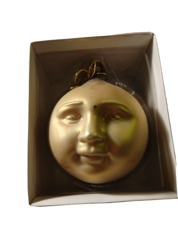"Department 56 Frosted Mercury Glass Moon Face Ornament, 5.5"" Gold Bronze"