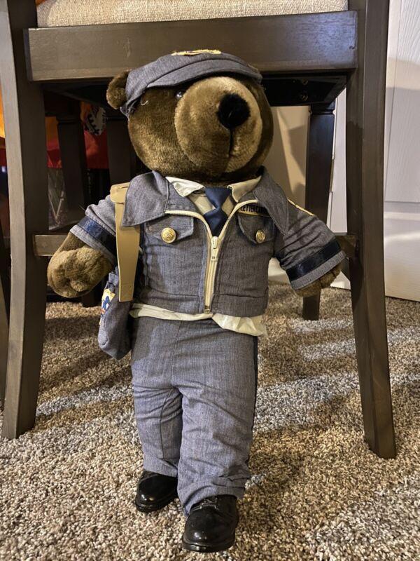 """1986 plush Patriot Teddy Bear U.S. Mail letter carrier 20"""" USPS JJ Wind Postal"""