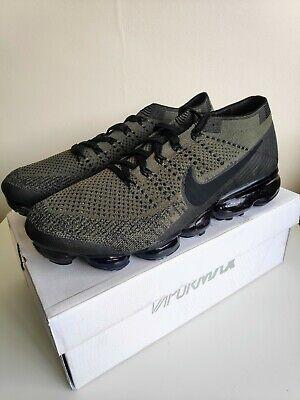 Nike Air Vapormax Flyknit Black Green 9 UK/ 44 EU /10 US Running Trainers