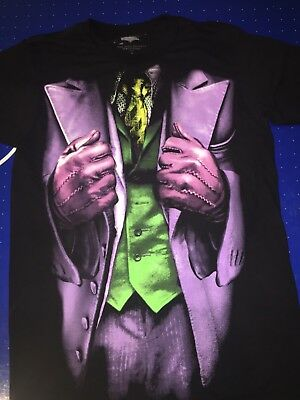 DC Comics The Dark Knight Movie Joker Suit Black Cotton T Shirt Size L