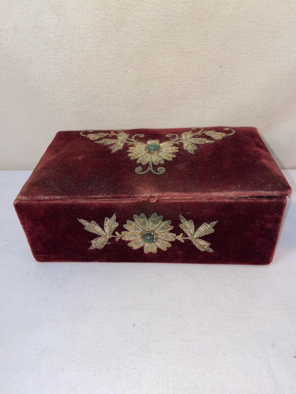 Vtg 1900-20's Victorian Antique Red Velvet Filigree Brooch Jewelry Trinket Box