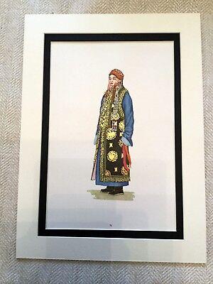 Vintage Mode Druck Mongolische Kostüm Ethnisch Uzemchin Mongol Kleid