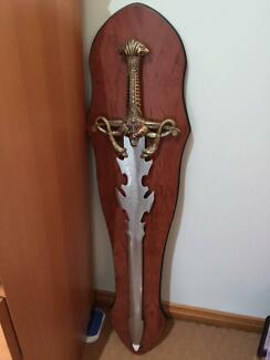 Large Sword with Wooden Stand Yagoona Bankstown Area Preview