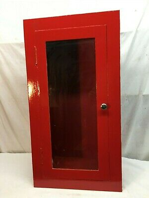 Vntg Salvaged Inset Wall Mount Fire Extinguisher Metal Cabinet Glass Door