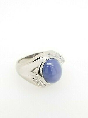 VINTAGE 14K WHITE GOLD 5.15 ctw STAR SAPPHIRE AND DIAMOND RING SIZE 6.5