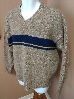 ABERCROMBIE & FITCH Sweater Men's L 100% WOOL V-Neck Brown & Blue Stripe