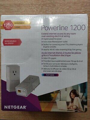 Netgear PLP1200-100PAS Powerline 1200 + Extra Outlet BNIB